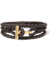 Tom Ford - Woven Leather And Gold-plated Wrap Bracelet - Lyst