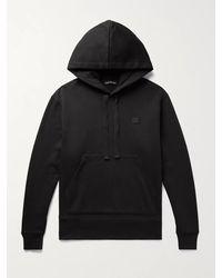 Acne Studios Ferris Logo-appliquéd Fleece-back Cotton-jersey Hoodie - Black