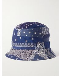 Universal Works Bandana-print Cotton-twill Bucket Hat - Blue