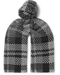 MR P. Fringed Checked Cashmere Scarf - Grey