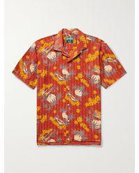 Gitman Vintage Camp-collar Printed Recycled Shirt - Red
