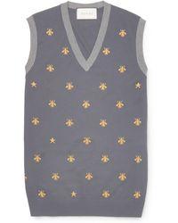 Gucci Bee-patterned Wool Jumper Vest - Grey