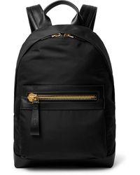 Tom Ford Leather-trimmed Nylon Backpack - Black