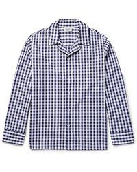 Sleepy Jones Henry Gingham Cotton Pajama Shirt - Blue