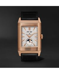 Jaeger-lecoultre Casa Fagliano Reverso Tribute Calendar Limited Edition Hand-wound 29.9mm 18-karat Rose Gold And Leather Watch, Ref. No. 391242p - Gray