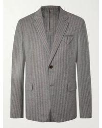 Bottega Veneta Herringbone Stretch-wool Flannel Suit Jacket - Grey