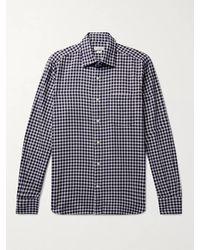 Incotex Checked Cotton-flannel Shirt - Blue