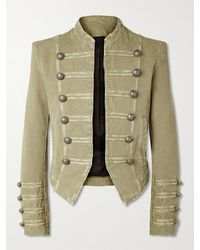 Balmain Cropped Button-embellished Cotton Blazer - Green