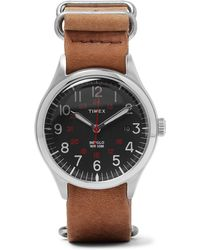 Timex - Waterbury United Stainless Steel And Stonewashed-leather Watch - Lyst