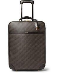 Saint Laurent Leathertrimmed Coatedcanvas Carryon Case - Brown