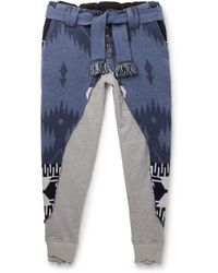 Alanui Greg Lauren Tapered Panelled Cashmere-intarsia And Loopback Cotton-jersey Sweatpants - Blue