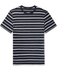 Theory - Striped Slub Linen-jersey T-shirt - Lyst
