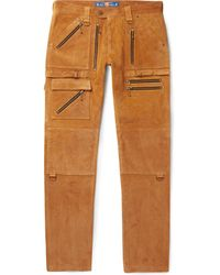 Blackmeans Slim-fit Suede Trousers - Brown