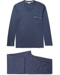 Zimmerli Mercerised Cotton-jersey Pyjama Set - Blue