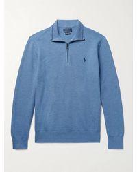 Polo Ralph Lauren Logo-embroidered Waffle-knit Pima Cotton Half-zip Jumper - Blue