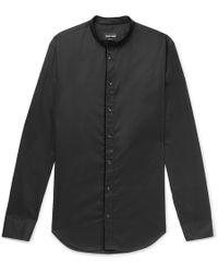 Giorgio Armani - Slim-fit Grandad-collar Contrast-tipped Cotton Shirt - Lyst