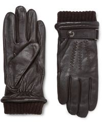 Dents Henley Touchscreen Leather Gloves - Brown