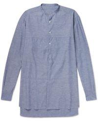 Eidos Oversized Grandad-collar Slub Cotton And Silk-blend Chambray Shirt - Blue