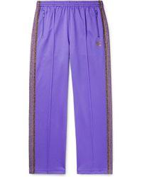 Needles Glittered Webbing-trimmed Tech-jersey Track Trousers - Purple