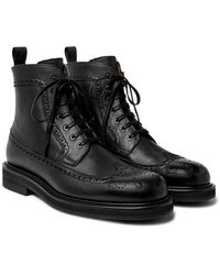 MR P. Jacques Full-grain Leather Brogue Boots - Black