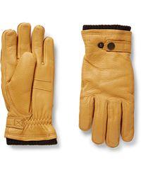 Hestra Utsjö Fleece-lined Full-grain Leather Gloves - Yellow