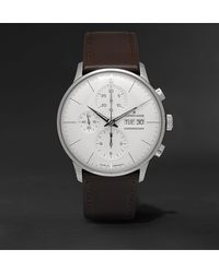 Junghans - Meister Chronoscope 40mm Stainless Steel And Leather Watch, Ref. No. 027412001 - Lyst