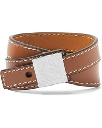 Loewe Anagram Logo-detailed Silver-tone And Leather Wrap Bracelet - Brown