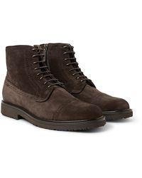 Ermenegildo Zegna - Suede Brogue Boots - Lyst