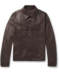Ermenegildo Zegna - Slim-fit Leather Overshirt - Lyst