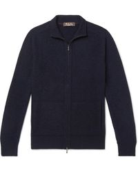 Loro Piana Slim-fit Baby Cashmere And Silk-blend Zip-up Cardigan - Blue