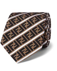 Fendi 6.5cm Logo-jacquard Silk Tie - Brown