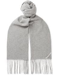 Acne Studios Fringed Mélange Wool Scarf - Gray