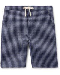 Oliver Spencer Cannington Gingham Cotton Drawstring Pajama Shorts - Blue