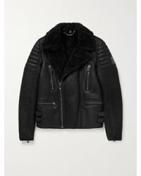 Belstaff Fraser Slim-fit Shearling-lined Full-grain Leather Jacket - Black
