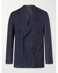 Rubinacci Double-breasted Virgin Wool Blazer - Blue