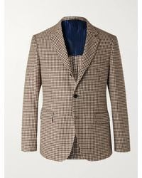 Mp Massimo Piombo Slim-fit Houndstooth Linen And Cotton-blend Blazer - Brown