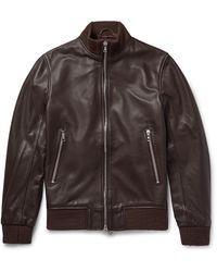 Officine Generale Laurent Full-grain Leather Bomber Jacket - Brown