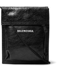 Balenciaga Logo Crackled-leather Cross-body Bag - Black