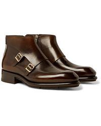 Santoni Polished-leather Monk-strap Boots - Brown