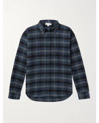 FRAME Checked Cotton-flannel Shirt - Blue