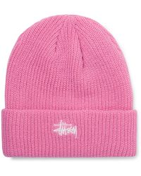 Stussy Logo-embroidered Ribbed-knit Beanie - Pink