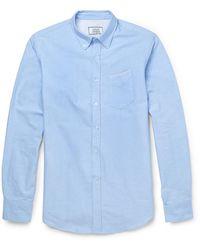Officine Generale Slim-fit Cotton Oxford Shirt - Blue