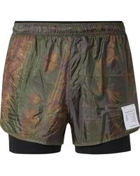 Satisfy Layered Tie-dyed Ripstop And Justice Trail Running Shorts - Brown