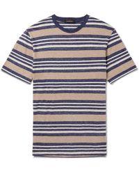 Ermenegildo Zegna - Striped Linen-blend T-shirt - Lyst