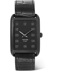 Tom Ford Stainless Steel And Alligator Watch - Black