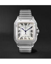 Cartier - Santos Automatic 35.6mm Interchangeable Stainless Steel And Leather Watch - Lyst
