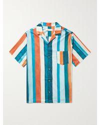 Desmond & Dempsey Cuban Camp-collar Striped Cotton Pyjama Shirt - Blue