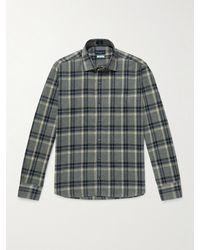 Peter Millar Checked Cotton-flannel Shirt - Blue