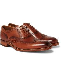 Grenson Dylan Burnished-leather Wingtip Brogues - Brown