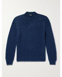 Giorgio Armani Slim-fit Mohair-blend Jumper - Blue